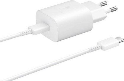 SAMSUNG φορτιστής τοίχου EP-TA800XWEGWW, USB Type-C, 25W 3A, λευκό