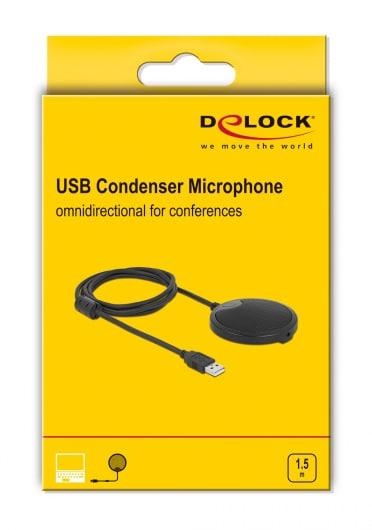 Delock μικρόφωνο 20672, πυκνωτικό, omnidirectional, με mute, USB