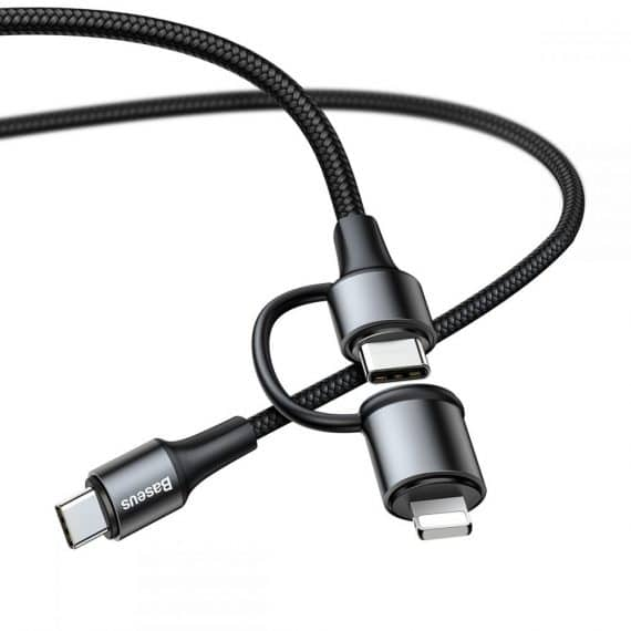 Baseus 2in1 Type-c To Type-c And Lightning Cable 100cm Black