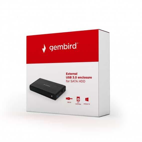 Gembird External USB 3.0 enclosure, black (EE3-U3S-3)