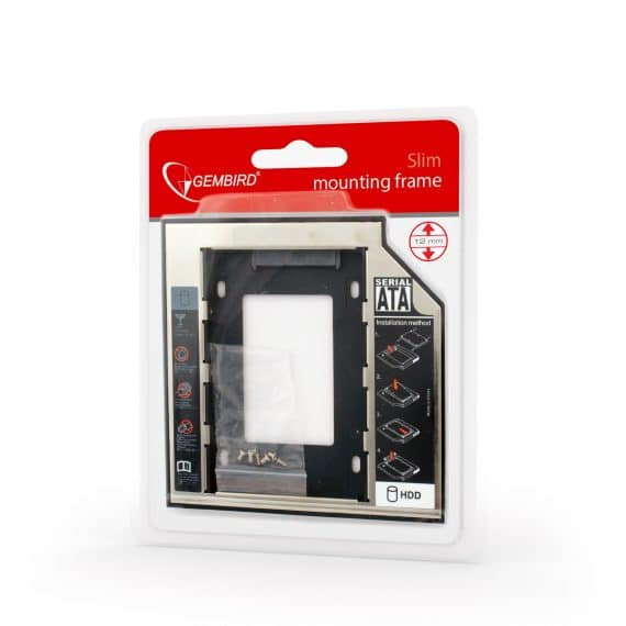 """Gembird Slim Mounting Frame For 2,5"""" Drive To 5,25"""" Bay For Drive Up To 12mm Mf-95-02"""