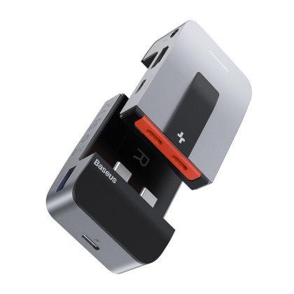 Baseus laptop stand multifunctional HUB USB Typ C - USB 3.0 / RJ45 / 3,5 mm mini jack / HDMI / USB Typ C / Thunderbolt 3 for MacBook Pro gray (CAHUB-AJ0G)