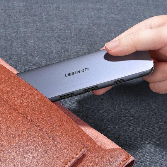 Ugreen 5w1 multifunctional HUB USB Typ C - HDMI / 3x USB 3.2 Gen 1 (5 Gbps) / USB Typ C Power Delivery 100 W 20 V 5 A gray (70408 CM285)