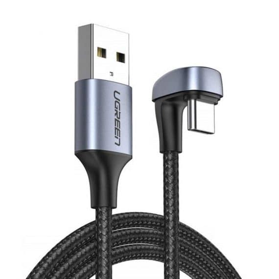 Ugreen Nylon Braided USB - USB Type C angled cable 1 m 3 A for players gamers gray (70313)