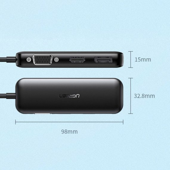 Ugreen adapter converter VGA / DisplayPort V1.2a / HDMI V2.0b 4K@60 Hz - USB Typ C black (60568 CM260)