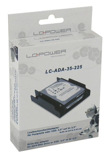 """LC-Power Drive Bay Adapter For HDD or SSD 3,5"""" to 2x2,5"""""""