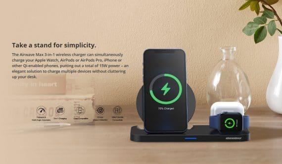 Rockrose Wireless Charging Pad (Qi) Μαύρο (Airwave Max 3in1)