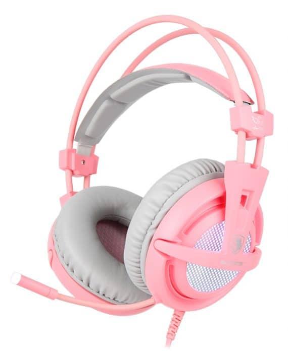 SADES Gaming Headset A6, multiplatform, USB, LED, ροζ
