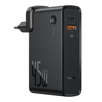 Baseus GaN επιτοίχιος φορτιστής 45 W USB / USB Type C Quick Charge 3.0 και Power Bank 10000 mhA (gallium nitride) μαύρο (PPNLD-C01)