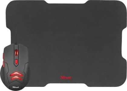 Trust Ziva Gaming Mouse With Mouse Pad Gaming Ποντίκι, Μαύρο (21963)