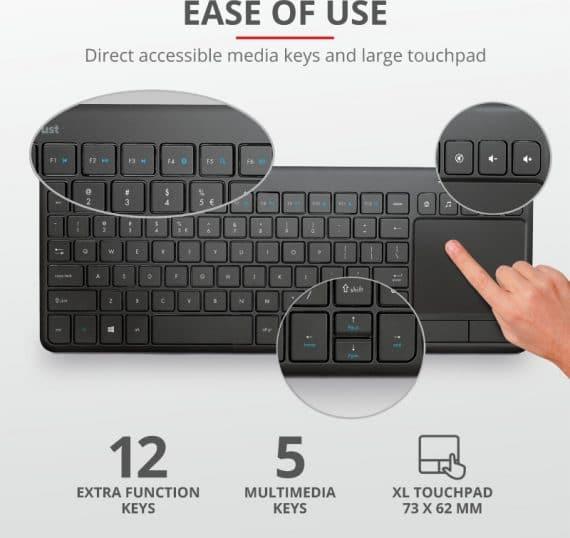Trust Vaia Ασύρματο Πληκτρολόγιο με Touchpad Ελληνικό GR, μαύρο